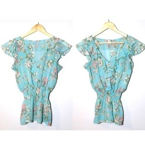 Mixage by Lady Dutch Blue Floral Ruffle Blouse